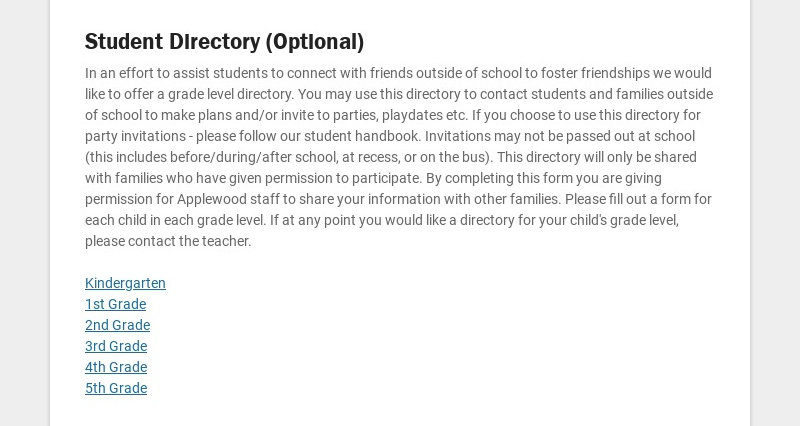 Student Directory (Optional) In an effort to assist students to connect with friends outside of...