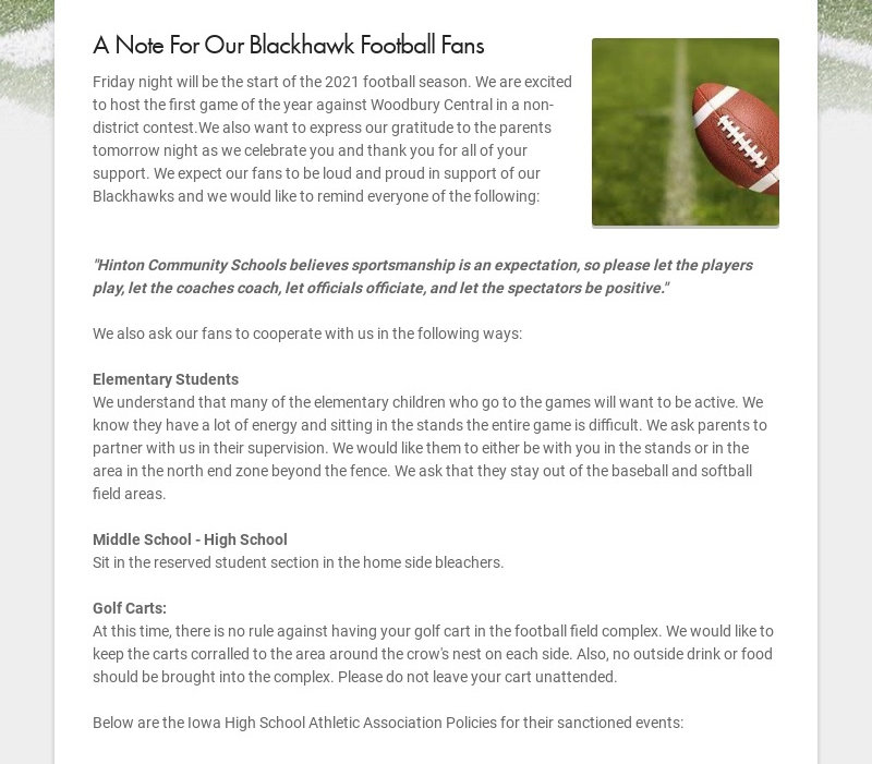 A Note For Our Blackhawk Football Fans Friday night will be the start of the 2021 football...