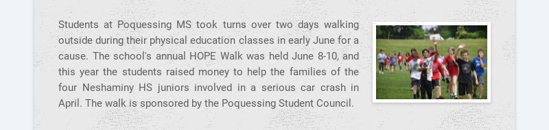 Students at Poquessing MS took turns over two days walking outside during their physical...