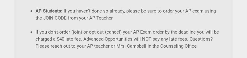 AP Students: If you haven't done so already, please be sure to order your AP exam using the JOIN...