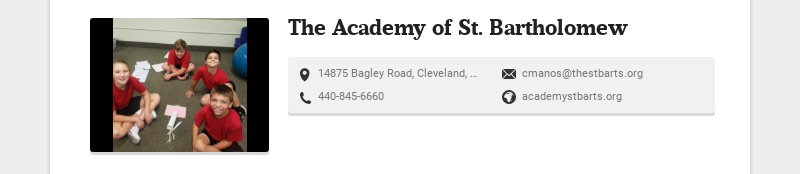 The Academy of St. Bartholomew 14875 Bagley Road, Cleveland, OH, USA cmanos@thestbarts.org...