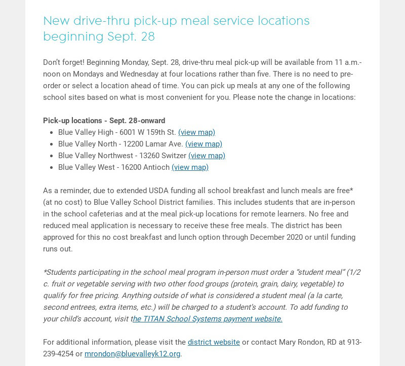 New drive-thru pick-up meal service locations beginning Sept. 28
