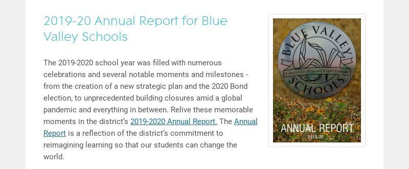 2019-20 Annual Report for Blue Valley Schools