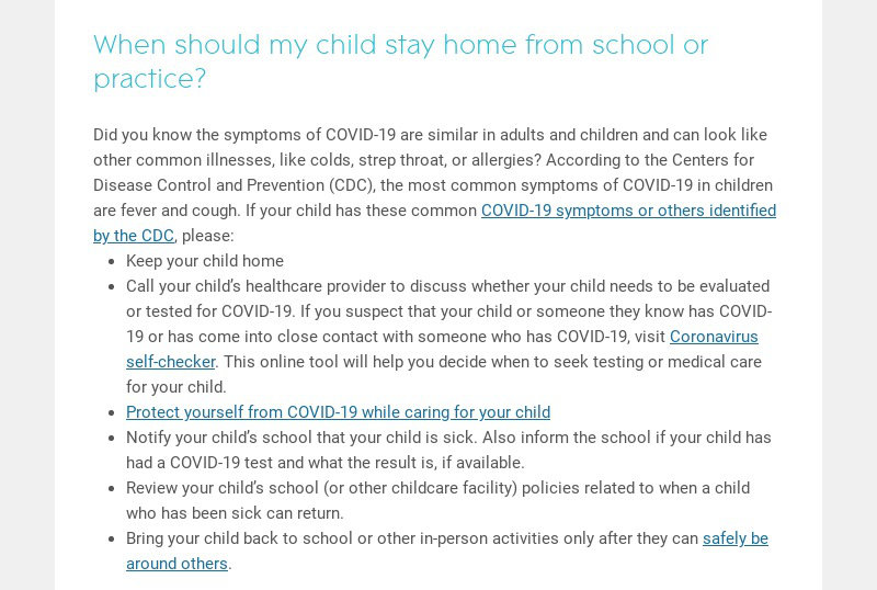 When should my child stay home from school or practice?