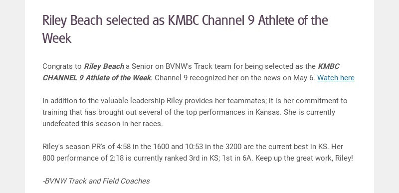Riley Beach selected as KMBC Channel 9 Athlete of the Week