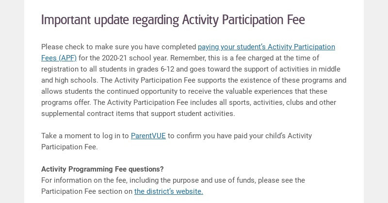 Important update regarding Activity Participation Fee