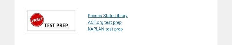 Kansas State Library ACT.org test prep KAPLAN test prep
