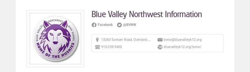 Blue Valley Northwest Information Facebook @BVNW 13260 Switzer Road, Overland Park, KS, USA...