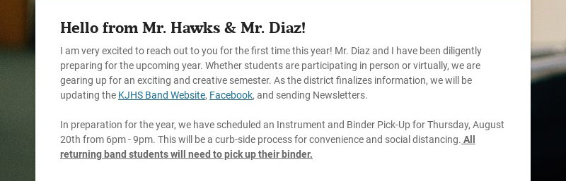 Hello from Mr. Hawks & Mr. Diaz! I am very excited to reach out to you for the first time this...