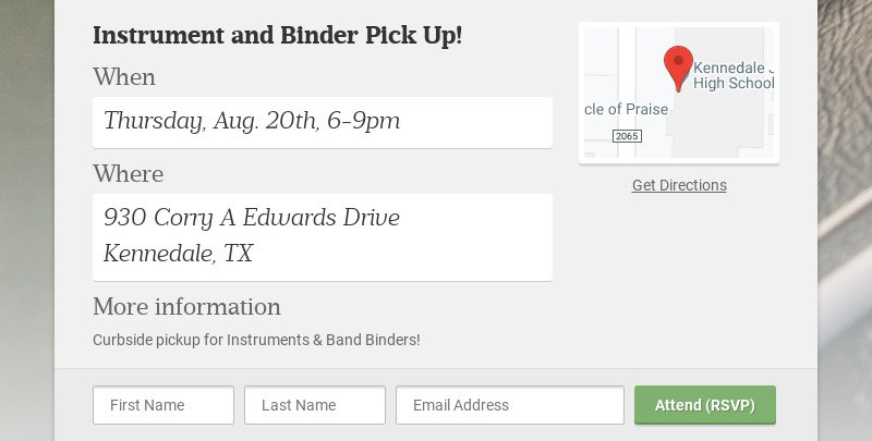 Instrument and Binder Pick Up! When Thursday, Aug. 20th, 6-9pm Where 930 Corry A Edwards Drive...