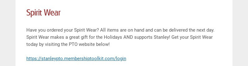 Spirit Wear Have you ordered your Spirit Wear? All items are on hand and can be delivered the...