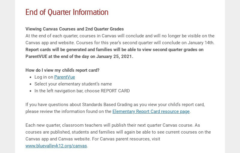 End of Quarter Information Viewing Canvas Courses and 2nd Quarter Grades At the end of each...