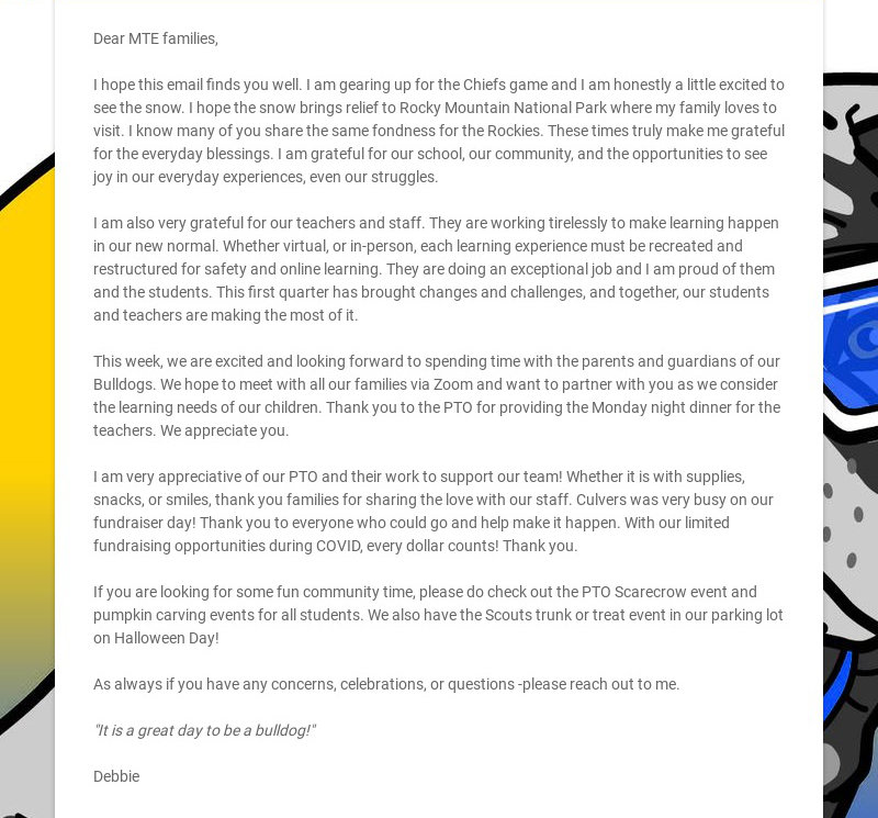 Dear MTE families, I hope this email finds you well. I am gearing up for the Chiefs game and I...