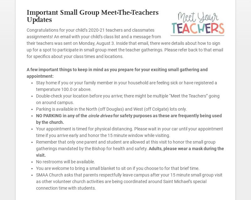 Important Small Group Meet-The-Teachers Updates Congratulations for your child's 2020-21 teachers...