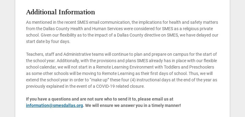 Additional Information As mentioned in the recent SMES email communication, the implications for...