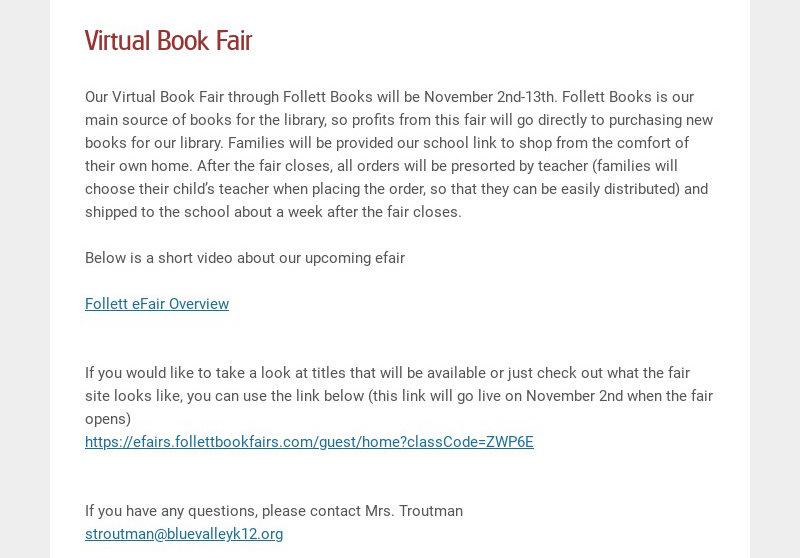 Virtual Book Fair Our Virtual Book Fair through Follett Books will be November 2nd-13th. Follett...