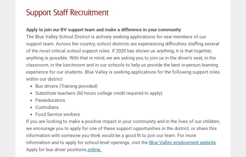 Support Staff Recruitment Apply to join our BV support team and make a difference in your...