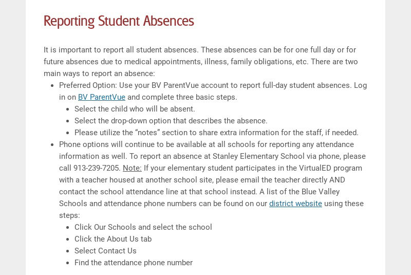 Reporting Student Absences It is important to report all student absences. These absences can be...
