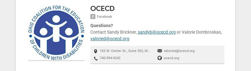 OCECD Facebook Questions? Contact Sandy Brickner, sandyb@ocecd.org or Valorie Dombroskas,...