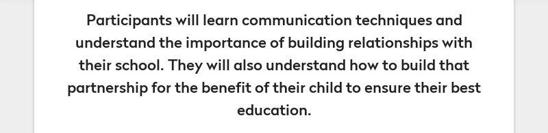Participants will learn communication techniques and understand the importance of building...