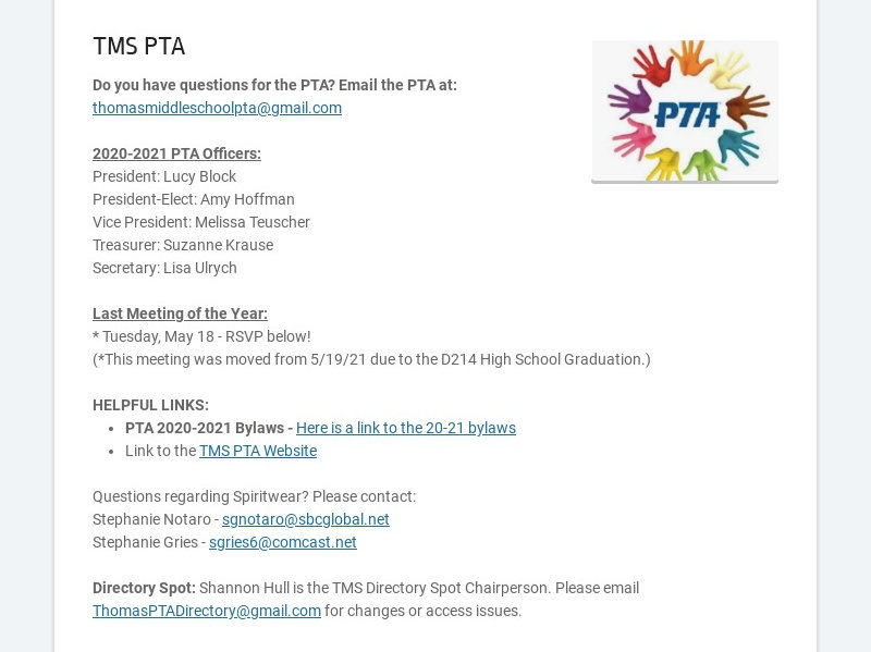 TMS PTA Do you have questions for the PTA? Email the PTA at: thomasmiddleschoolpta@gmail.com...