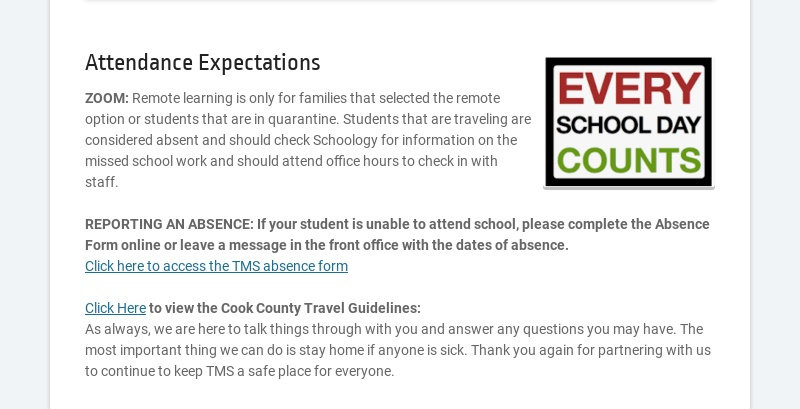 Attendance Expectations ZOOM: Remote learning is only for families that selected the remote...