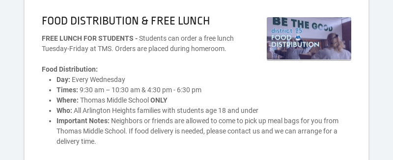 FOOD DISTRIBUTION & FREE LUNCH FREE LUNCH FOR STUDENTS - Students can order a free lunch Tuesday-...
