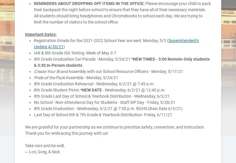 Hello, Thomas Middle School Community, We hope this email finds you and your family well....