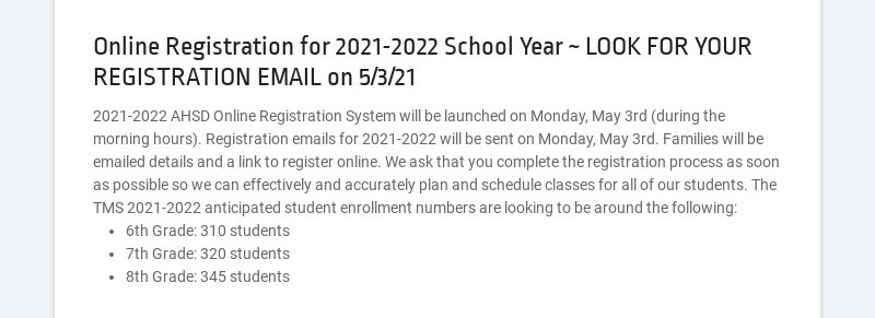 Online Registration for 2021-2022 School Year ~ LOOK FOR YOUR REGISTRATION EMAIL on 5/3/21...