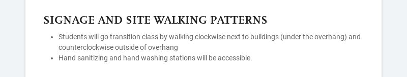 SIGNAGE AND SITE WALKING PATTERNS