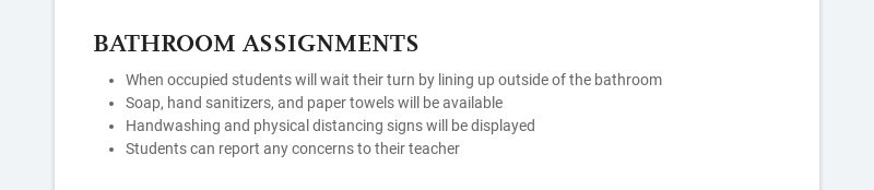 BATHROOM ASSIGNMENTS