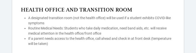 HEALTH OFFICE AND TRANSITION ROOM