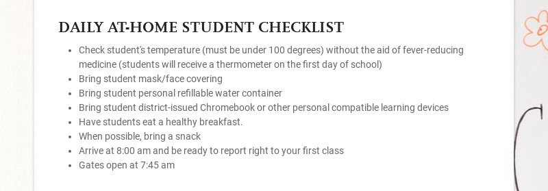 DAILY AT-HOME STUDENT CHECKLIST