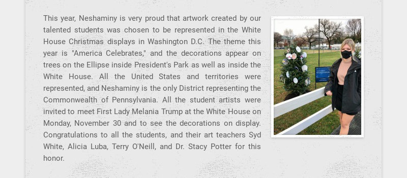 This year, Neshaminy is very proud that artwork created by our talented students was chosen to be...