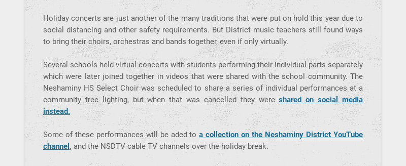 Holiday concerts are just another of the many traditions that were put on hold this year due to...