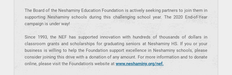 The Board of the Neshaminy Education Foundation is actively seeking partners to join them in...