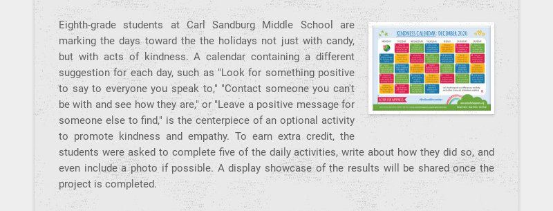 Eighth-grade students at Carl Sandburg Middle School are marking the days toward the the holidays...