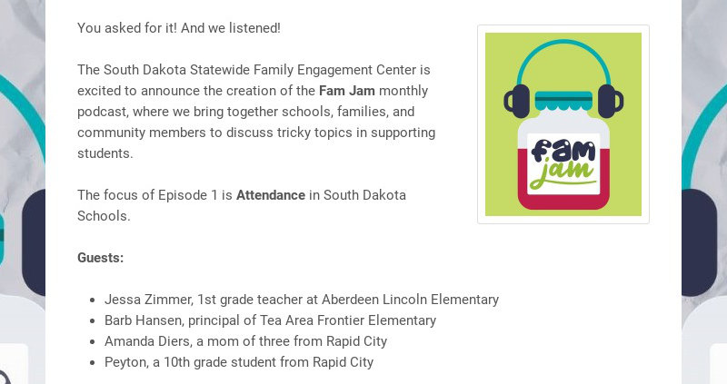 You asked for it! And we listened!The South Dakota Statewide Family Engagement Center is...