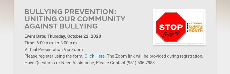 BULLYING PREVENTION: UNITING OUR COMMUNITY AGAINST BULLYING