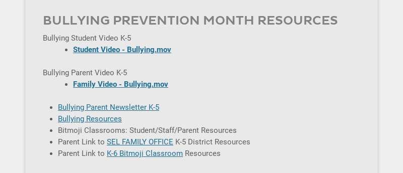 BULLYING PREVENTION MONTH RESOURCES