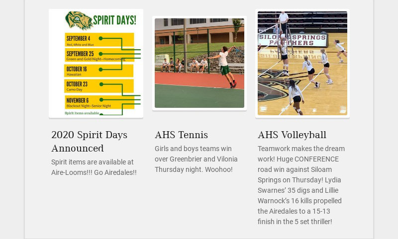 2020 Spirit Days Announced Spirit items are available at Aire-Looms!!! Go Airedales!! AHS...