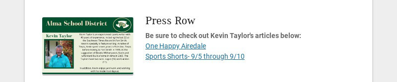 Press Row Be sure to check out Kevin Taylor's articles below: One Happy Airedale Sports Shorts-...