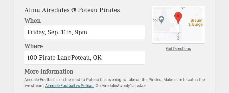 Alma Airedales @ Poteau Pirates When Friday, Sep. 11th, 9pm Where 100 Pirate Lane Poteau, OK More...