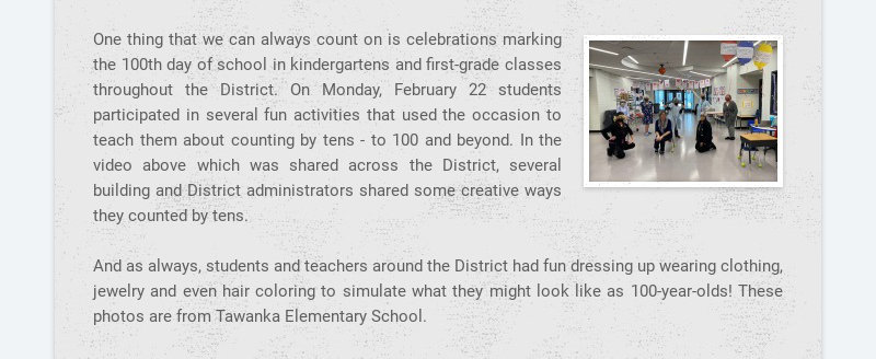 One thing that we can always count on is celebrations marking the 100th day of school in...