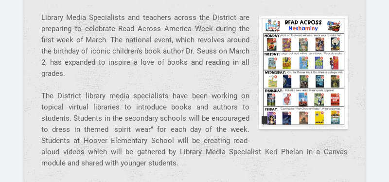 Library Media Specialists and teachers across the District are preparing to celebrate Read Across...