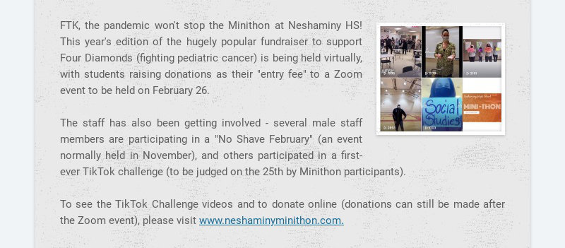 FTK, the pandemic won't stop the Minithon at Neshaminy HS! This year's edition of the hugely...