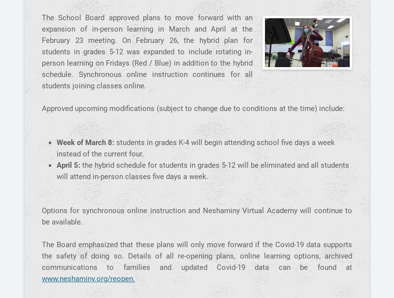 The School Board approved plans to move forward with an expansion of in-person learning in March...