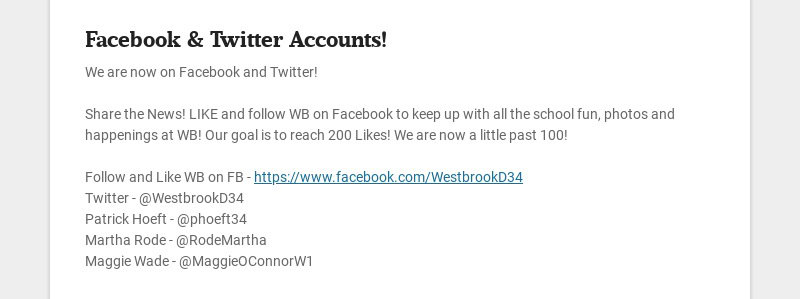 Facebook & Twitter Accounts! We are now on Facebook and Twitter! Share the News! LIKE and...