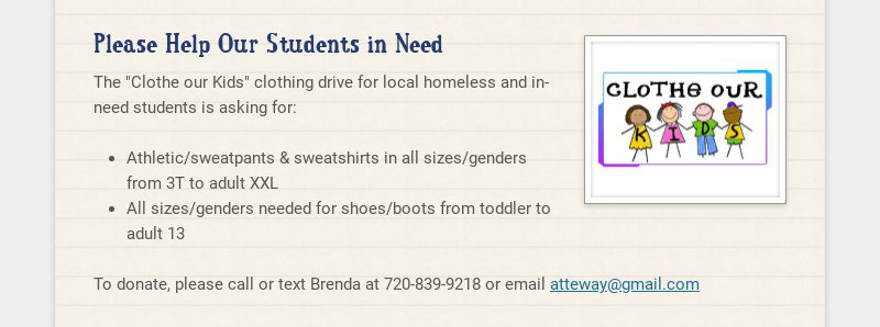Please Help Our Students in Need