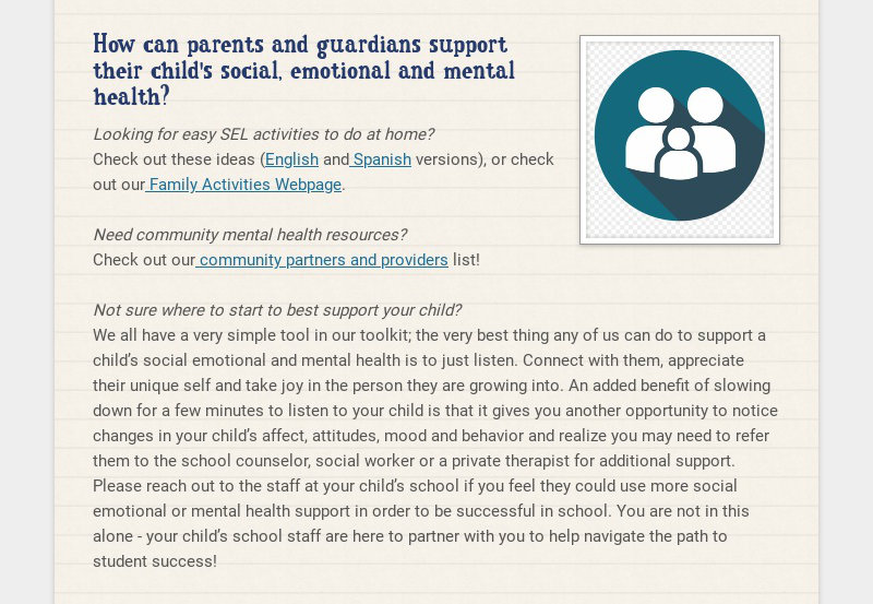 How can parents and guardians support their child's social, emotional and mental health?